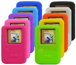 The Friendly Swede 10 x Soft Silicone Skins Covers Cases for SanDisk SDMX22 Sansa Clip Zip 4GB 8GB in Retail Packaging