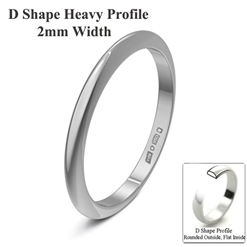 Xzara Jewellery - Platinum 2mm Heavy D Shape Hallmarked Ladies/Gents 2.4 Grams Wedding Ring Band