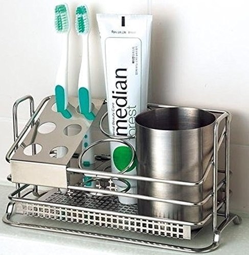 Stainless Steel Toothbrush Holder Stands Toothpaste Cup Storage Bathroom (Toothbrush Holder Stainless Steel compare prices)