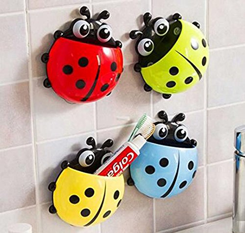 Bestga Cute Cartoon Ladybug Kids Wall Suction Cup Mount Toothbrush Holder Pencil and Pen Container Box Travel Organizer Plastic Pocket Storage Organizer - Blue