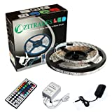 ZITRADES 16.4 Ft 5M 3528 Waterproof 300leds RGB Color Changing Kit with LED Flexible Strip+44key Controller+Power Supply BY ZITRADES