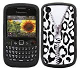 ITALKonline SoftSkin BLACK WHITE LEOPARD ZIP PRINT Super Hydro Silicone Protective Armour/Case/Skin/Cover/Shell for BlackBerry 8520 Curve, 9300 3G