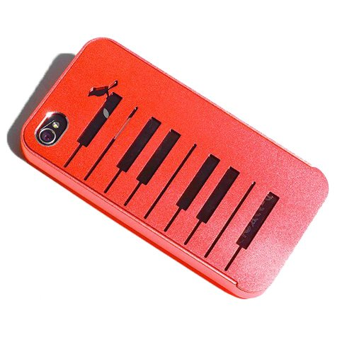 Lovely Red Aluminium Alloy Piano & Bird Protective Back Cover Case for iPhone 4 4S 4G