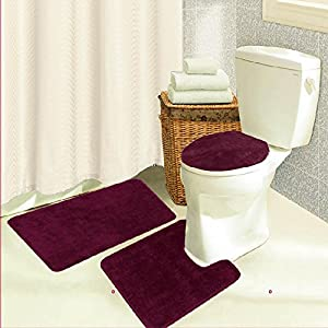 Pink Contour Bath Rug 3 Piece Set