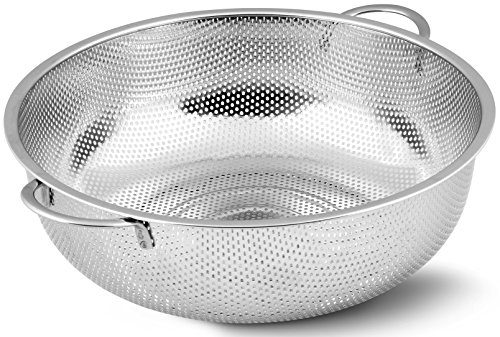Stainless Steel Colander - Micro-Perforated Strainer - Strain Pasta, Noodles, Orzo, Vegetables, Fruits and More - by Utopia Kitchen (Stainless Steel Noodle Strainer compare prices)