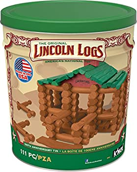 LINCOLN LOGS Tin 111 All-Wood Pieces