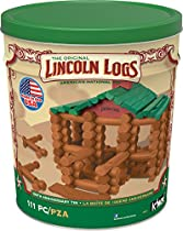 LINCOLN LOGS - 100th Anniversary Tin - 111 All-Wood Pieces - Ages 3+ Construction Education Toy