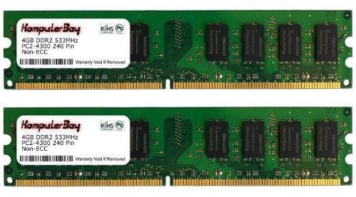 Komputerbay 8GB 2X 4GB DDR2 533MHz PC2-4200 PC2-4300 DDR2 533 (240 PIN) DIMM Desktop Memory CL 4