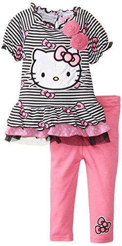 Hello Kitty Baby Baby Girls Infant 2 Piece Legging Set With 3D Printed Chiffon Rosettes, Multi, 24 Months front-103437
