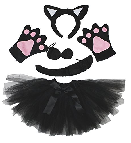 Cat Headband Bowtie Tail Gloves Black Tutu 5pc Girl Costume Dress for Party (Black)