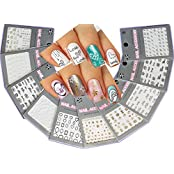 Lovely Nail Art 3D Stickers Decals Silver Gold Black & White Variety Pack Of 10 - Flowers ♥ Hearts ♥ Stars ♥ -...