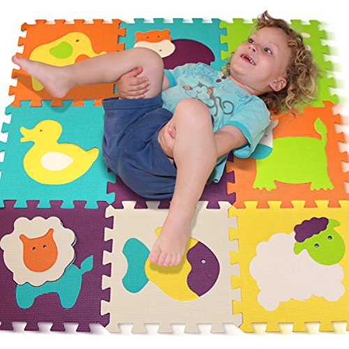 Tomi-mat-Puzzle-Play-Mat-Interlocking-Puzzle-Pieces-Promote-Visual-Sensory-Development-Soft-Baby-Floor-Mat-9-Tiles-with-Vibrant-animal-images-to-Capture-childrens-Attention-Foam-EVA-Mat