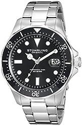 Stuhrling Original Aquadiver Mens Dive Watch - Quartz Analog Waterproof Sports Watch - Black Dial Date Display Swim Wrist Watch for Men - Luminous Waterproof Watch with Stainless Steel Bracelet 824.01