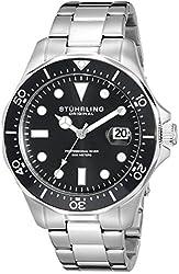 Stuhrling Original Aquadiver Mens Dive Watch - Quartz Analog Waterproof Sports Watch - Black Dial Date Display Swim Wrist Watch for Men - Luminous Waterproof Watch with Stainless Steel Bracelet 824.02