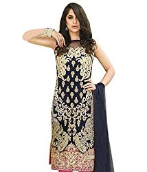CRAFTLIVA NAVY BLUE AND CREAM EMBROIDERED FAUX GEORGETTE STRAIGHT SUIT