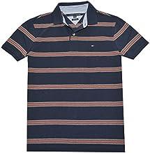 Tommy Hilfiger Men Custom Fit Striped Logo Polo T-shirt