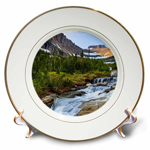 Danita Delimont - Glacier National Park - Lunch Creek with Pollock Mountain in Glacier National Park, Montana - 8 inch Porcelain Plate (cp_231086_1)