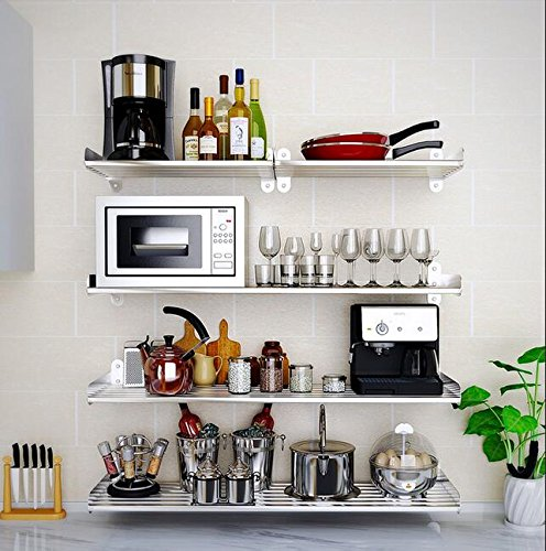 Wall Mounted Floating Shelves Home Organizer Storage Book Case Pot Rack 6 Round Bar 1 Tier (31inch)