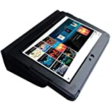 HappyZone - (Black) Portfolio Leather Case Cover with Built In Stand for Sony Tablet S 9.4-Inch Wi-Fi 16GB/32GB