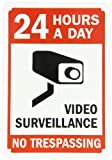 """SmartSign Aluminum Sign, Legend """"24 Hours a Day Video Surveillance"""" with Graphic, 10"""" high x 7"""" wide, Black/Red on White"""