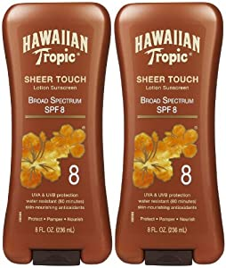 Hawaiian Tropic Sheer Touch Lotion Sunscreen SPF 8, 8 oz, 2 pk