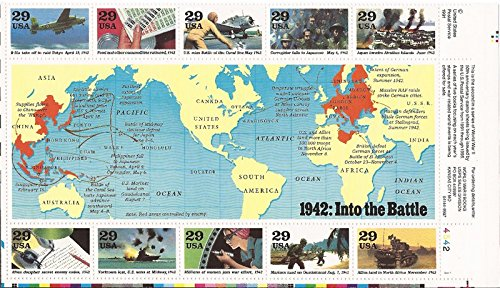 WWII 1942 Into The Battle Block of 10 x 29 Cent Stamps Scott #2697 by USPS