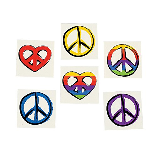 Peace Sign Temporary Tattoos (6 dz) - Retro Party Favors