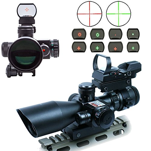AOTOP-25-10×40-Tactical-Rifle-Scope-Dual-Illuminated-Mil-dot-with-Red-Laser-Rail-Mount-and-4-Reticle-Red-and-Green-Dot-Open-Reflex-Sight-with-Weaver