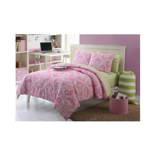 Kendall 8 Piece Pink/Green Dorm Room Bed In A Bag With Sheet Set Twin Xl front-154150