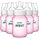 Avent BPA Free Classic Polypropylene Bottles - Pink - Girl - 9 Oz - 5 Ct