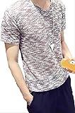 【Wild Cats】メンズ Vネック 無地 半袖Tシャツ スリム トップス カジュアル かっこいい エコバッグ付き