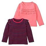 (ニッセン) nissen 女の子長袖Tシャツ2枚組 紺系+ピンク 身長100cm