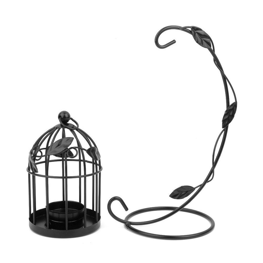 Tinksky Hanging Candle Holder Stand Candlestick Candle Cage Lantern (Black) 1