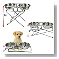 Best Adjustable Elevated Dog Bowl & Stand Set - Raised Stainless Steel Collapsible Pet Feeder, Washable, 3-level, 2 Quart - Perfect for Water, Food or Treats