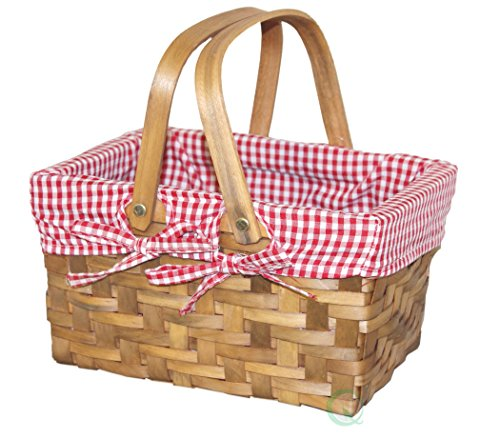 Vintiquewise(TM) Rectangular Basket Lined with Gingham Lining, Small (Little Red Riding Hood Basket compare prices)