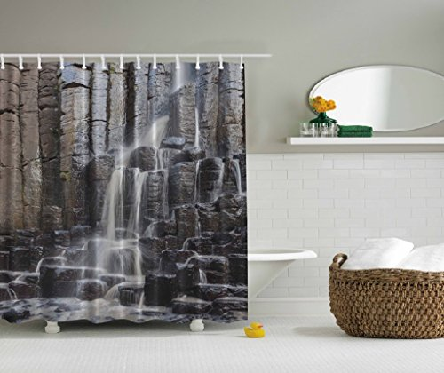 "Waterfall on Rock Wall Fabric Shower Curtain 69"" X 70"" with Hooks"