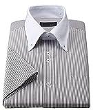 半袖デザインワイシャツ 形態安定 ワイシャツ Mサイズ (39) ロンドンストライプ(ブロックスストライプ) グレー×ブラウン 細く見えるストライプ柄 スリムタイプ クレリック ボタンダウン レギュラーカラー 2.5ボタン ビジネス カジュアル 半袖ワイシャツ コーデ