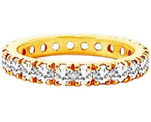 14K Yellow Gold Eternity Stack Ring White Topaz Gem All the Way 'round, size 8.5