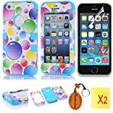 (TRAIT)5in1 Blue Bubble Plastic + Silicon Case Front And Back Protector Skin For for iphone 5 5s Snap-on Cover hybrid Cases+2*Screen Protector+2*Cleaning Cloth