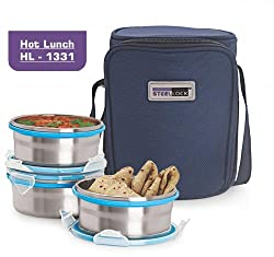 Steel Lock HL- 1331 Airtight 3 pc Lock Steel Lunch / Meal/Tiffin Box with Insulated Bag