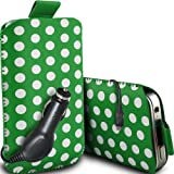 Fone-Case Alcatel One Touch S'Pop Protective Polka PU Leather Pull Cord Slip In Pouch Quick Release Case With 12v Micro USB In Car Charger (Green & White)