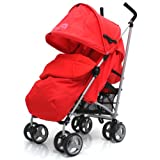 ZETA VOOOM - Warm Red COMPLETE + Deluxe 2in1 FOOTMUFF WITH POUCHES liner zip off padded Warm Red + HEADHUGGER...