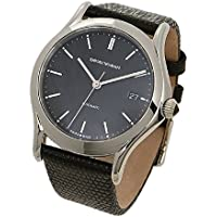 Emporio Armani Swiss Made Men's Swiss Quartz Stainless Steel and Leather Dress Watch