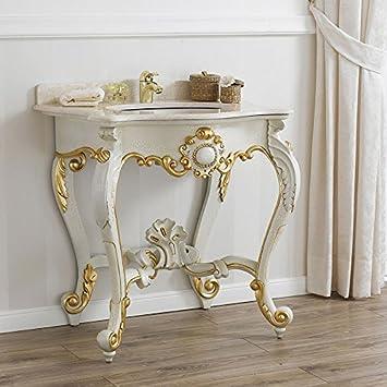 Consolle lavabo stile Luigi Filippo Veneziano crackle particolari foglia oro marmo crema