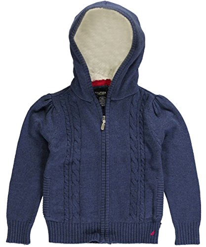 Nautica Little Girls' Full Zip Sweater With Front Cables And Eyelash Hood Lining 2, Blue Heather, 5 front-1048639