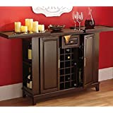Wine Bar Liquor Cabinet Expanding Top. Entertainment Center, Buffet Server. Deep Walnut Finish.