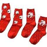 Ruisen 4 Paar Damen Baumwoll-Socken verdicken reizender Bären-Rot Crew Socken