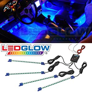 Amazon.com: 4pc. Blue LED Interior Underdash Lighting Kit: Automotive