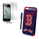 Forever Collectibles Dual Hybrid 2-Piece TPU Case for Iphone 6 Plus - Retail Packaging - Boston Red Sox, Stylus Pen, Screen Protectors. (Bronze Package)