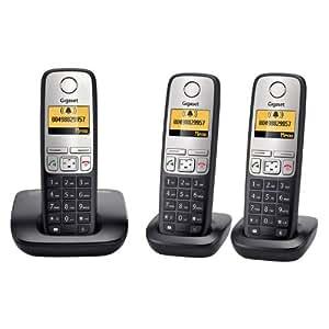 Gigaset Siemens A400 Trio Téléphone sans fil DECT/GAP Argent/Noir